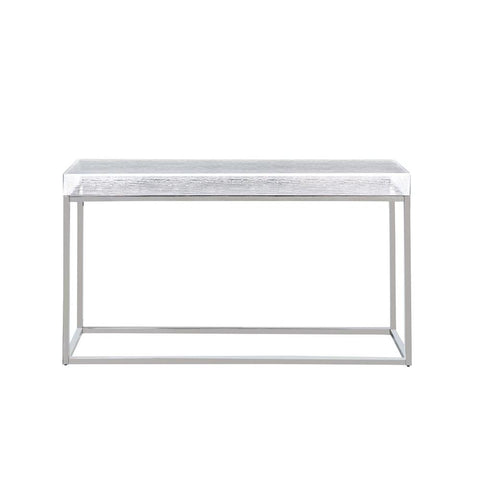 Chintaly Contemporary Sofa Table w/ Acrylic Top & Stainless Steel Frame