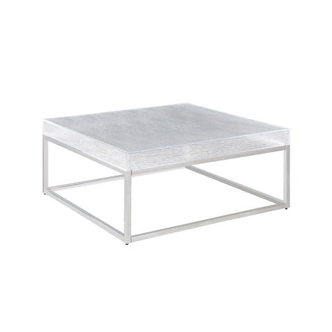 Chintaly Contemporary Square Cocktail Table w/ Acrylic Top & Steel Frame