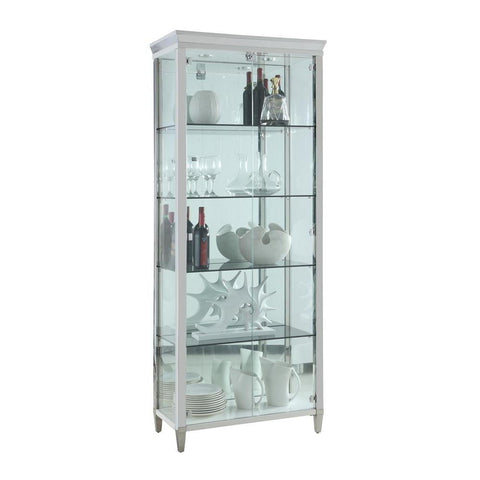 Chintaly Contemporary Tempered Glass Curio w/ Shelves, Lighting & Locking Doors