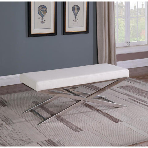 Chintaly Contemporary Upholstered Bench w/ X-Shaped Stainless Steel Legs