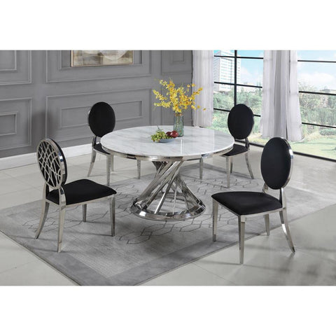 Chintaly Contemporary White Carrara Marble Dining Table