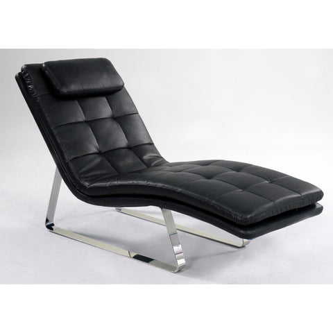 Chintaly Corvette Chaise Lounge In Black