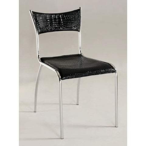 Chintaly Daisy Slim Upholstered Back Side Chair In Chrome