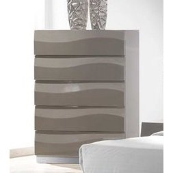 Chintaly Delhi 5 Drawer Chest In Grey