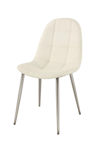 Chintaly Donna Upholstered Back Side Chair In Chrome