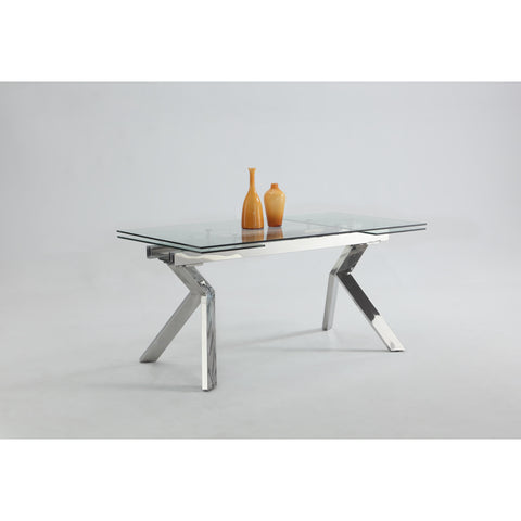 Chintaly Ella Dining Table In Clear Glass