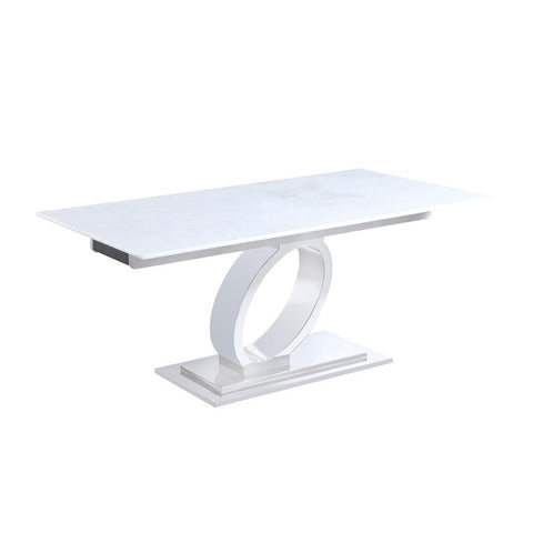 "Chintaly Extendable Solid Marble Table w/ ""O"" Ring Pedestal Base"