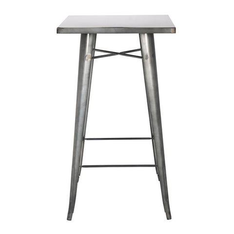 Chintaly Galvanized Steel Bar Table In Gun Metal