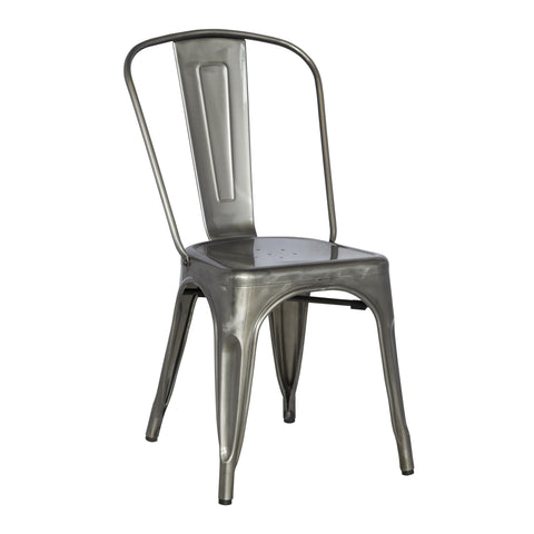 Chintaly Galvanized Steel Side Chair With Back In Gun Metal