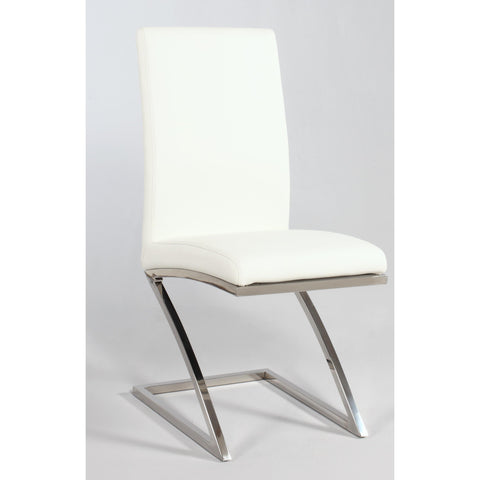 "Chintaly Jade ""Z"" Frame Contemporary Side Chair In Stainless Steel"