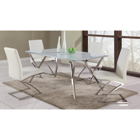 Chintaly Jade 5 Piece Dining Set In Stainless Steel