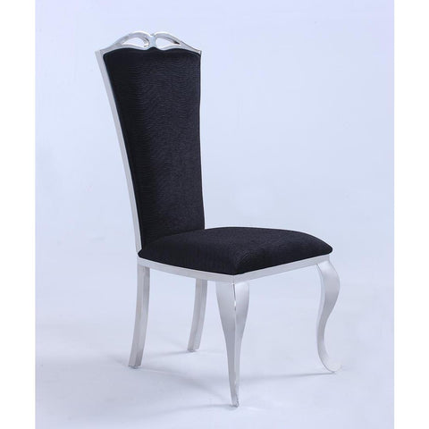 Chintaly Jamie Tall-Back Side Chair in Shiny Stainless Steel