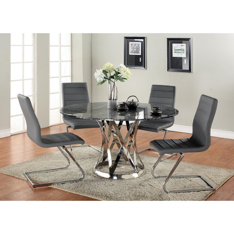 Chintaly Janet Dining 5 Piece Dining Set With Marble Top
