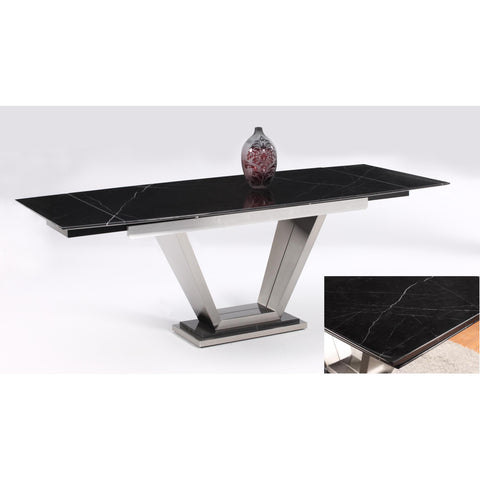 Chintaly Jessy Dining Table In Black Marquis