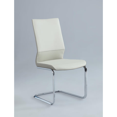 Chintaly Lydia Two Tones Cantilever Side Chair In Cream