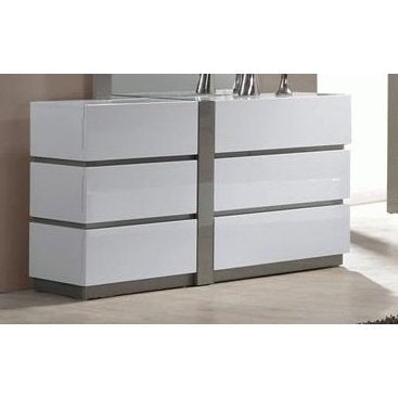 Chintaly Manila 6 Large Drawer Dresser In White & Grey