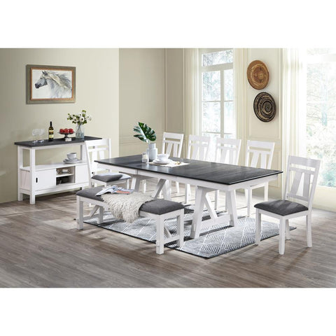 Chintaly Modern Dining Set w/ Extendable Table & 4 Chairs