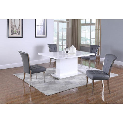 Chintaly Modern Extendable Gloss White Wooden Dining Table
