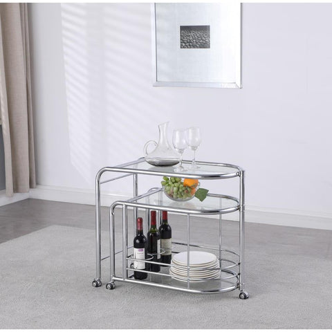 Chintaly Modern Tea Cart w/ Swivel Shelf