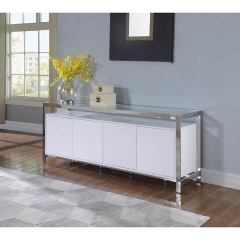 Chintaly Modern White Buffet w/ Stainless Steel & Tempered Glass Top