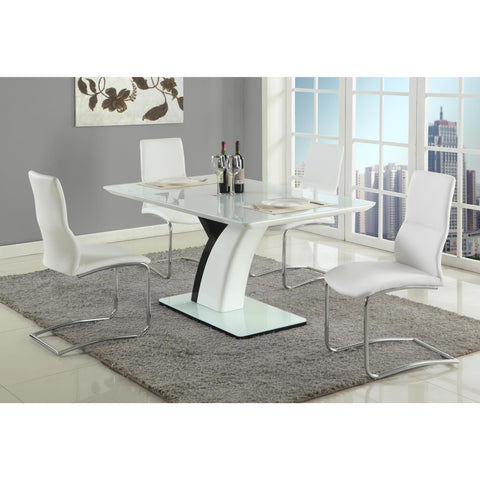 Chintaly Natasha 5 Piece Dining Set With Piper Side chair In White And Black