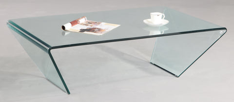 Chintaly Rectangle Bent Glass Cocktail Table In Clear Glass