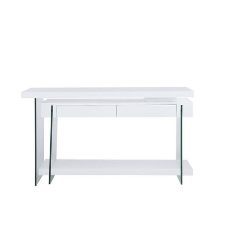 Chintaly Rotatable Gloss White Wooden Desk w/ 2 Drawers & Shelf