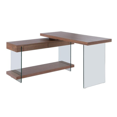 Chintaly Rotatable Walnut Veneer Wooden Desk w/ 2 Drawers & Shelf