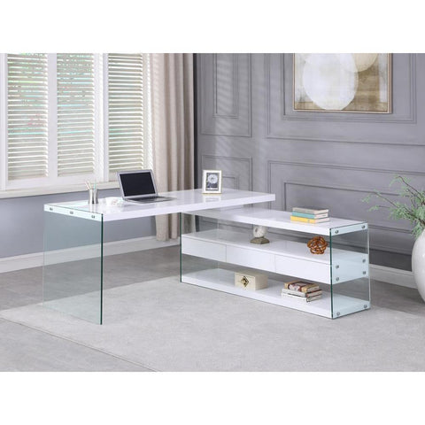 Chintaly Rotatable Wooden Desk w/ 3 Drawers and 3 Shelves