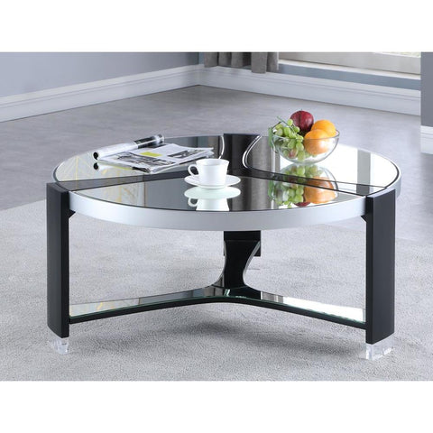 Chintaly Round Cocktail Table w/ Mirror Top