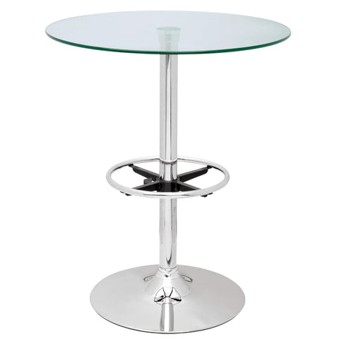 Chintaly Round Glass Top Pub Table In Clear Glass