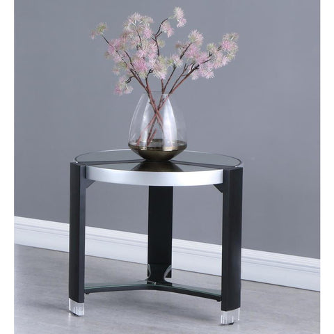 Chintaly Round Lamp Table w/ Mirror Top