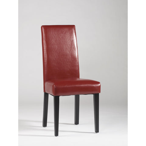 Chintaly Straight Back Parson Chair In Red
