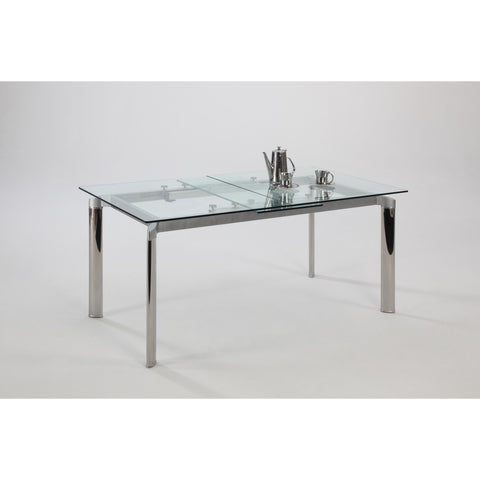 Chintaly Tara Pop-Up Extension Clear Glass Dining Table In Clear Glass