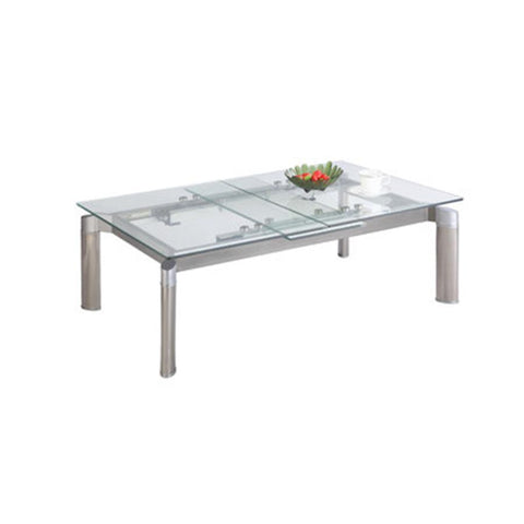 Chintaly Tara Pop-Up Extension Cocktail Table In Clear Glass