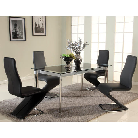 Chintaly Tara Pop-Up Extension Glass Dining Table In Black Glass