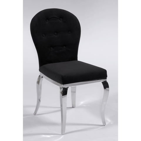 Chintaly Teresa Transitional Oval Back Side Chair In Black Microfiber