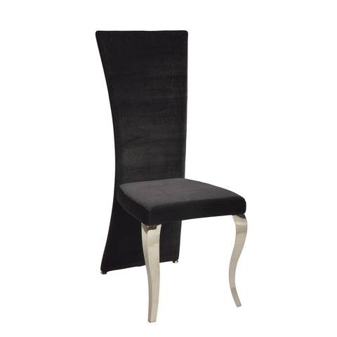 Chintaly Teresa Transitional Rectangular High Back Side Chair In Black Velvet