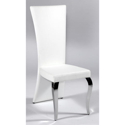 Chintaly Teresa Transitional Rectangular High Back Side Chair In White