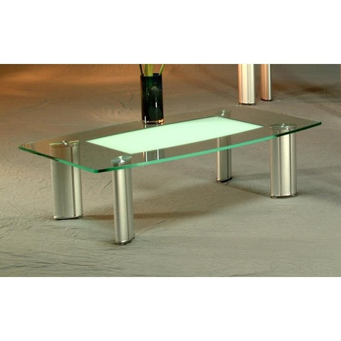 Chintaly Tracy Cocktail Table In Clear And Frosted Glass