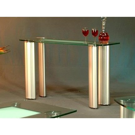 Chintaly Tracy Sofa Table In Clear And Frosted Glass