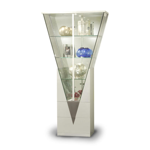 Chintaly Triangular Curio W/Mirrored Interior In Silver