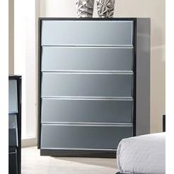 Chintaly Venice 5 Drawers Chest In High Black