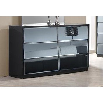Chintaly Venice 6 Drawers Dresser In High Black