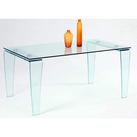 Chintaly Vera Dining Table In Clear Glass
