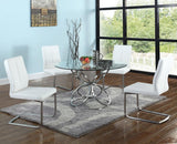 Chintaly Viola Plush Fully Upholstered Side Chair in Brushed Stainless Steel