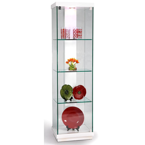 Chintaly White Accent Glass Curio In White Gloss