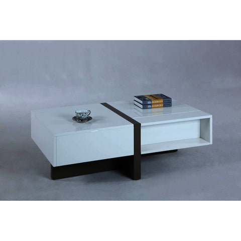 Chintaly White Cocktail Table With 1 Raised Top