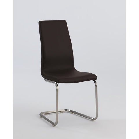 Chintaly Zoey Cantilever High Back Side Chair In Brown
