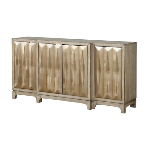 Coast To Coast 13716 Four Door Media Credenza in Beechum White and Gold